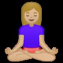 Android Pie; U+1F9D8 U+1F3FC U+200D U+2640 U+FE0F; Mujer En Posición De Loto: Color De Piel 3 Emoji
