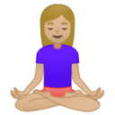 Android Pie; U+1F9D8 U+1F3FC U+200D U+2640 U+FE0F; Femme En Position Du Lotus : Peau 2 Emoji
