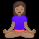 Android Pie; U+1F9D8 U+1F3FD U+200D U+2640 U+FE0F; Mulher Em Posição De Lótus: Pele Bronzeada Emoji