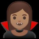 Android Pie; U+1F9DB U+1F3FD U+200D U+2640 U+FE0F; Vampiro Femminile : Colore Pelle 4 Emoji