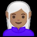 Android Pie; U+1F9DD U+1F3FD U+200D U+2640 U+FE0F; Elfina/Elfa: Color De Piel 4 Emoji