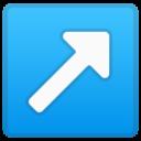 Android Pie; U+2197 U+FE0F; Emoji
