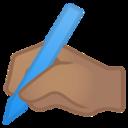 Android Pie; U+270D U+1F3FD; Emoji