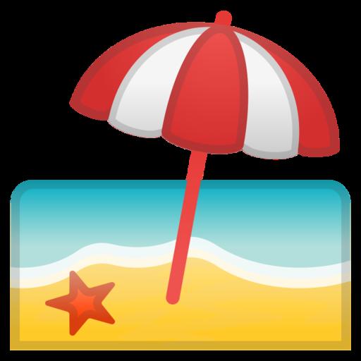 Sonnenschirm strand clipart  🏖 Strand mit Sonnenschirm-Emoji