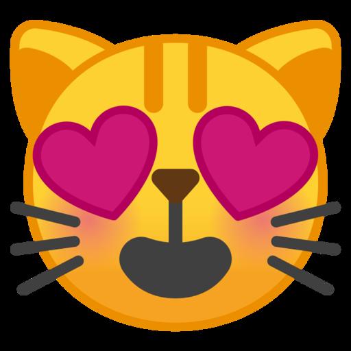 Cara De Gato Sonriendo Y Ojos De Corazón Emoji