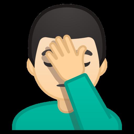 Man Facepalming Light Skin Tone Emoji