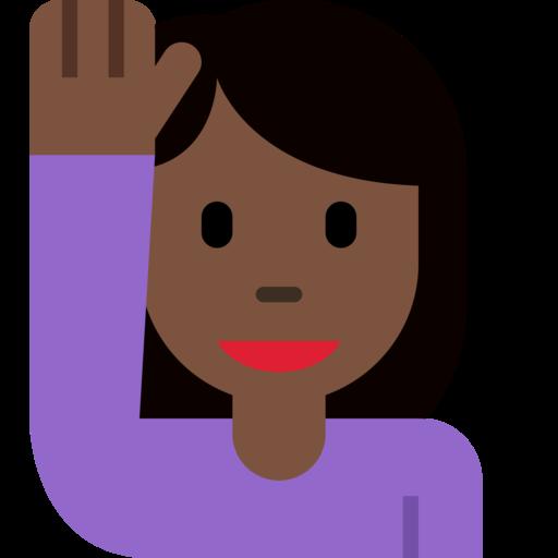 🙋🏿 ♀️ Woman Raising Hand: Dark Skin Tone Emoji
