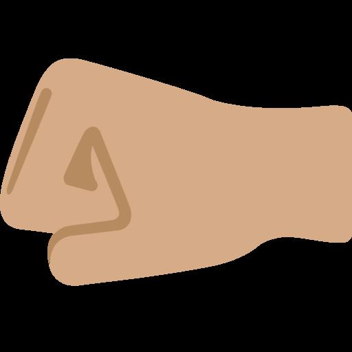 left facing fist medium skin tone emoji