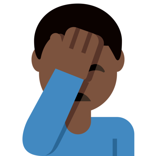 Man Facepalming Dark Skin Tone Emoji