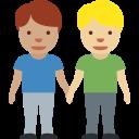 👨🏽🤝👨🏼 Men Holding Hands: Medium Skin Tone, Medium-light Skin Tone; Twitter v12.0
