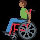 👨🏾🦽 Homem Em Cadeira De Rodas Manual: Pele Morena Escura; Twitter v12.0