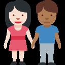 👩🏻🤝👨🏾 Femme Et Homme Se Tenant La Main: Peau Claire Et Peau Mate; Twitter v12.0