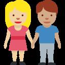 👩🏼🤝👨🏽 Mujer Y Hombre De La Mano: Tono De Piel Claro Medio Y Tono De Piel Medio; Twitter v12.0