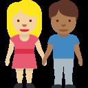👩🏼🤝👨🏾 Uomo E Donna Che Si Tengono Per Mano: Carnagione Abbastanza Chiara E Carnagione Abbastanza Scura; Twitter v12.0