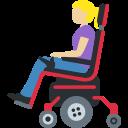 👩🏼🦼 Mulher Em Cadeira De Rodas Motorizada: Pele Morena Clara; Twitter v12.0