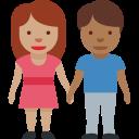 👩🏽🤝👨🏾 Femme Et Homme Se Tenant La Main: Peau Légèrement Mate Et Peau Mate; Twitter v12.0
