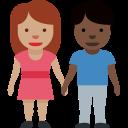 👩🏽🤝👨🏿 Femme Et Homme Se Tenant La Main: Peau Légèrement Mate Et Peau Foncée; Twitter v12.0