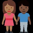 👩🏾🤝👨🏿 Mann und Frau halten Hände: mitteldunkle Hautfarbe, dunkle Hautfarbe; Twitter v12.0