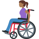 👩🏾‍🦽 Woman In Manual Wheelchair: Medium-dark Skin Tone; Twitter v12.0