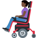👩🏿‍🦼 Woman In Motorized Wheelchair: Dark Skin Tone; Twitter v12.0