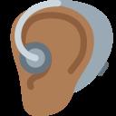 🦻🏾 Ear With Hearing Aid: Medium-dark Skin Tone; Twitter v12.0