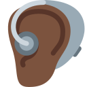 🦻🏿 Ear With Hearing Aid: Dark Skin Tone; Twitter v12.0