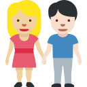 🧑🏼🤝🧑🏻 People Holding Hands: Medium-light Skin Tone, Light Skin Tone; Twitter v12.0