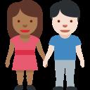 🧑🏾🤝🧑🏻 sich an den Händen haltende Personen: mitteldunkle Hautfarbe, helle Hautfarbe; Twitter v12.0