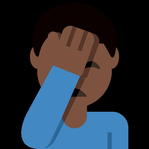 Man Facepalming Dark Skin Tone Emoji